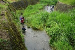 川探検をする子供